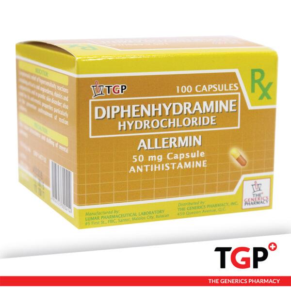Diphenhydramine Cap 50mg (ALLERMIN)-100