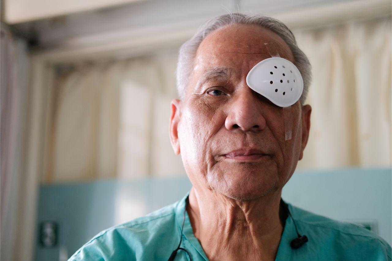 A senior man after cataract surgery