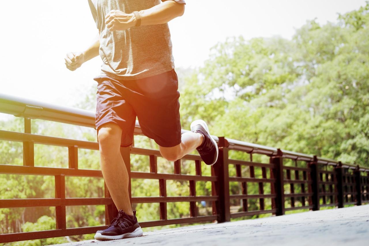 A healthy man going on a jog