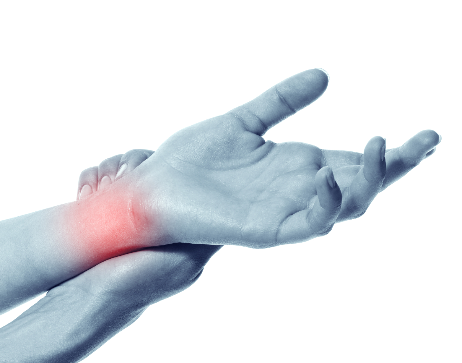 Acute pain in a women hand. Isolation on a white background