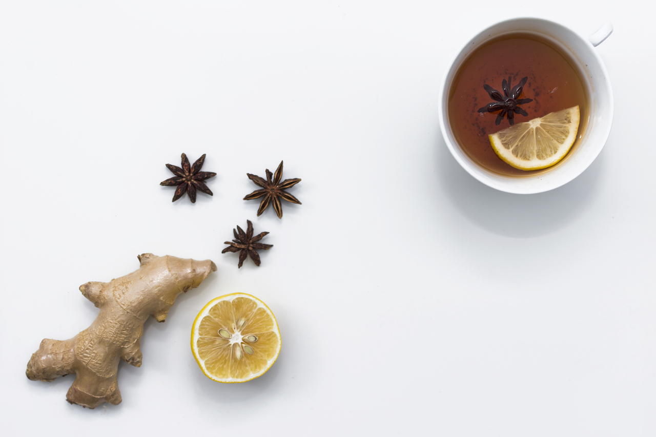 ginger tea and ginger lemon star anise
