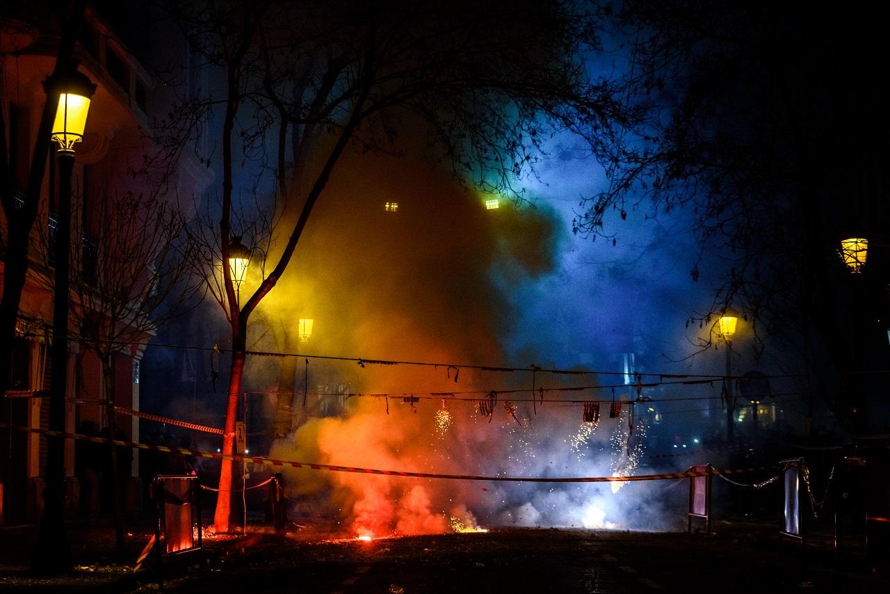 fireworks emitting a lot of smoke