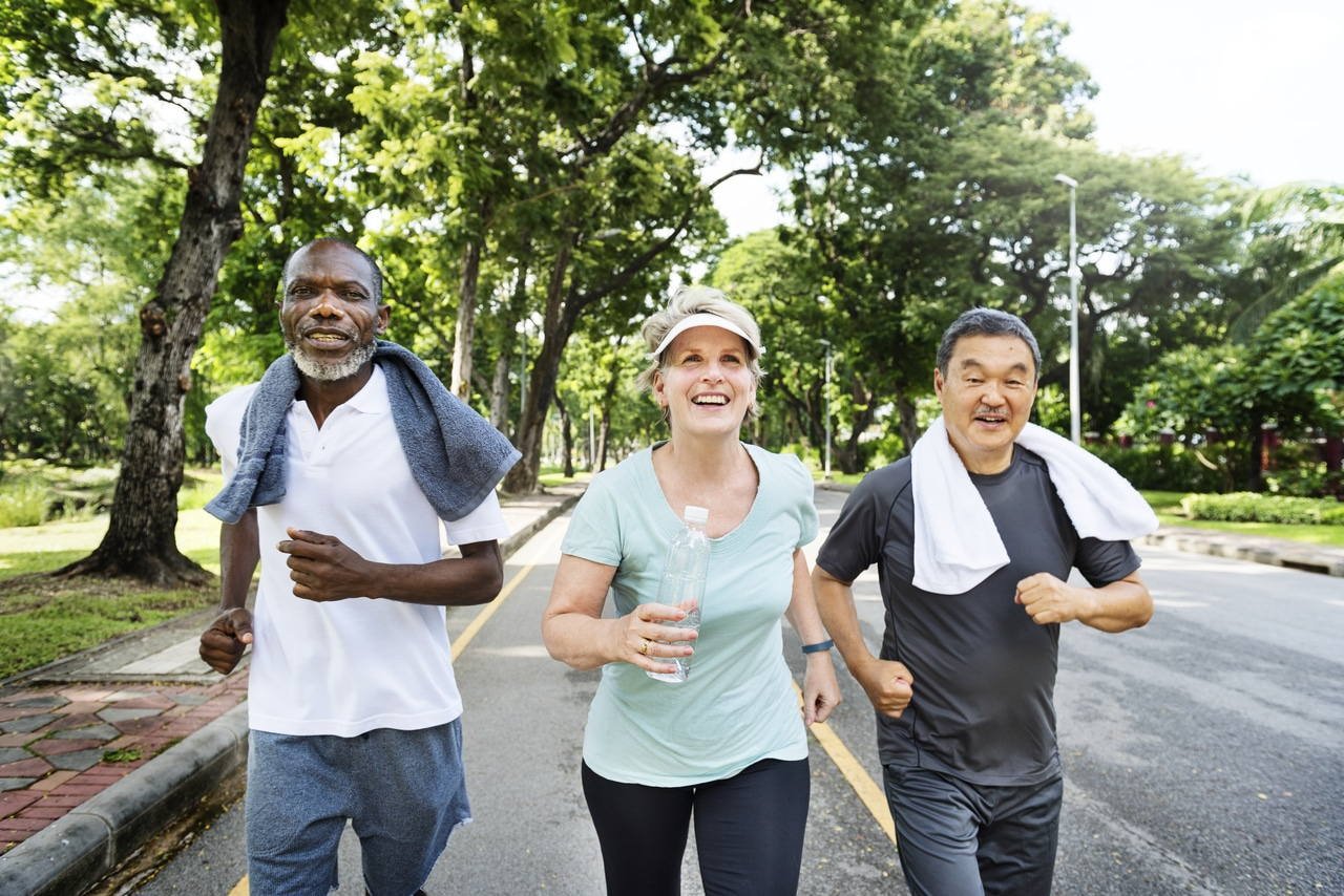 Seniors jogging to stay active