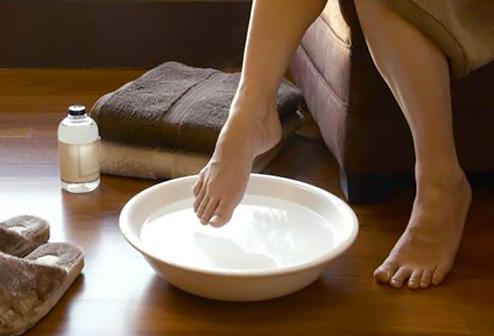 foot in basin